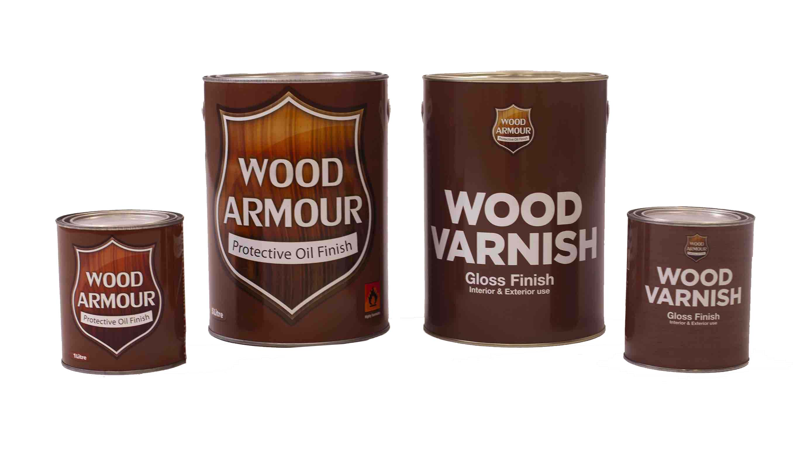 Wood Armour 5 Litre and 1 Litre Cans White Background